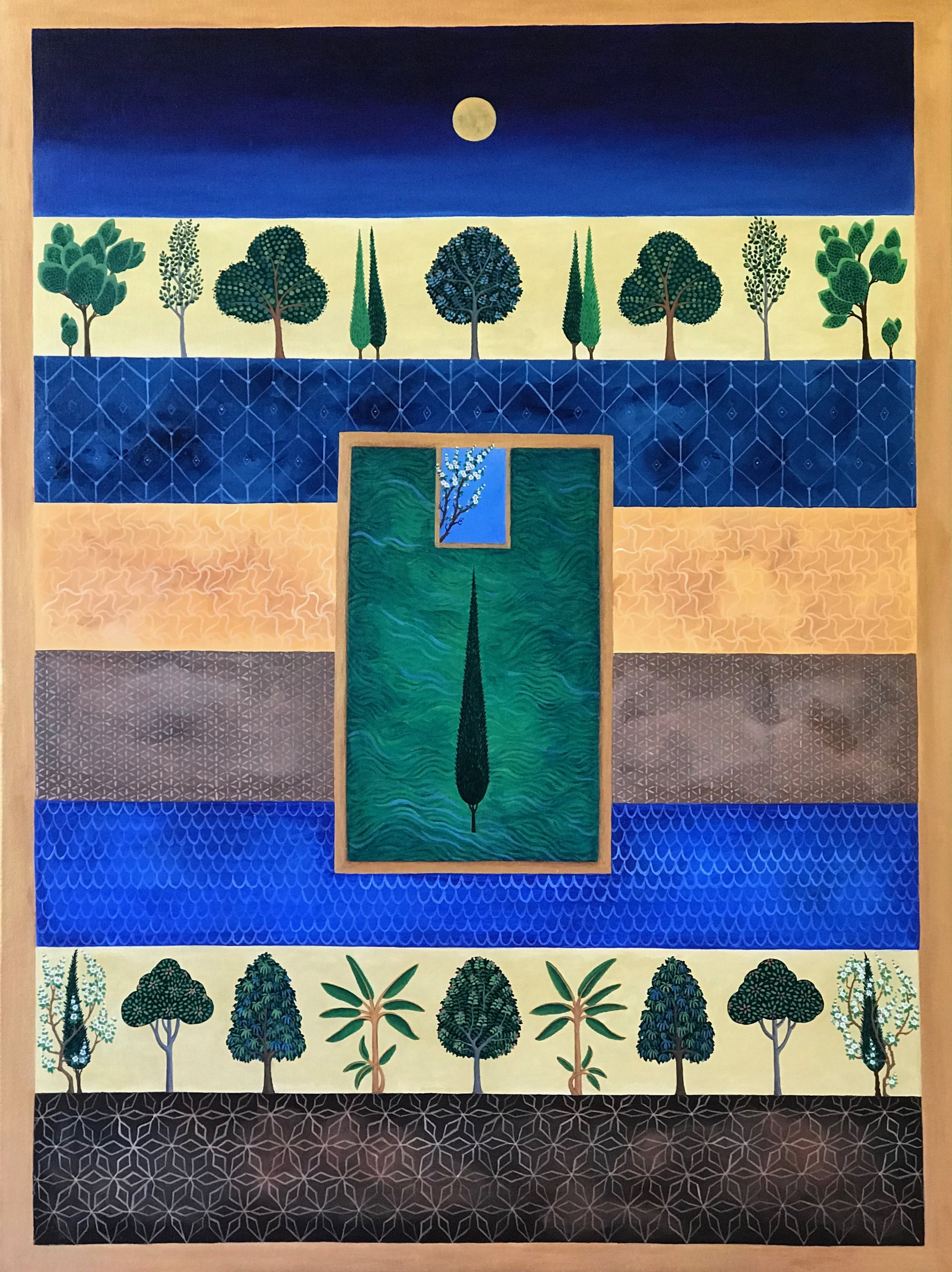 treeline garden, 30''x40'', acrylic on canvas, 2018.