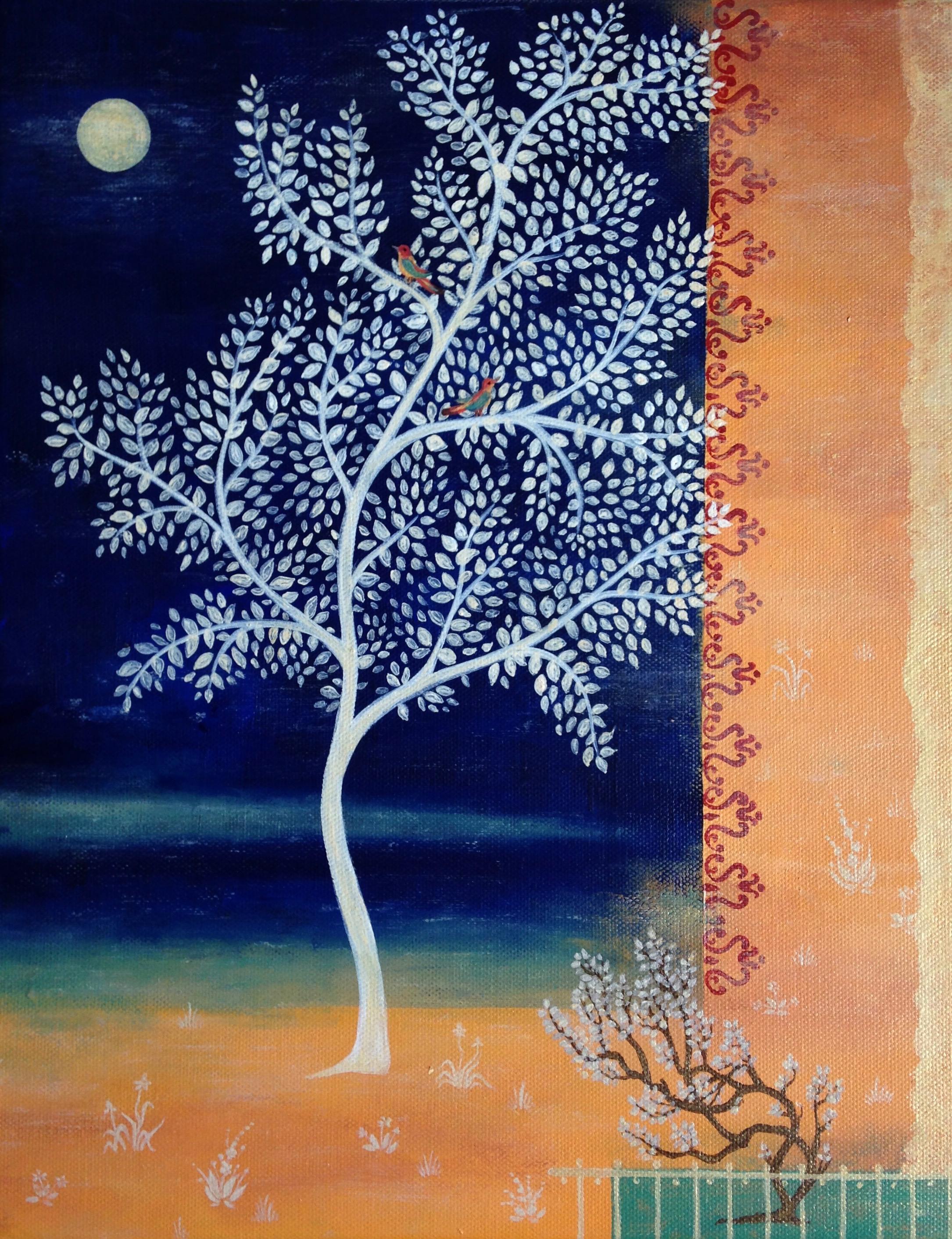 twilight in the saffron garden, 11''x14'', acrylic on canvas, 2018.