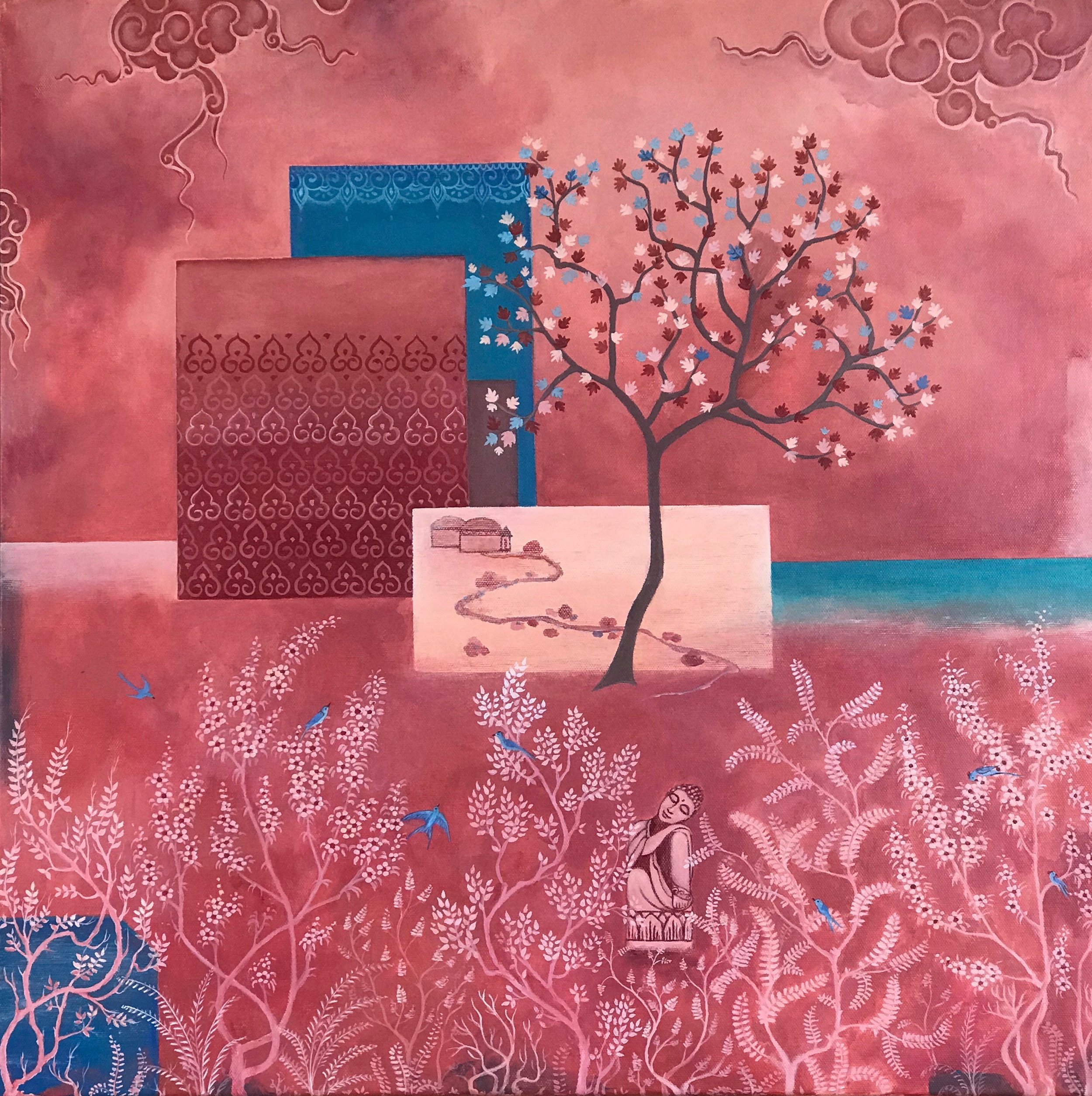 garden of delight, 24''x24'', acrylic on canvas, 2019