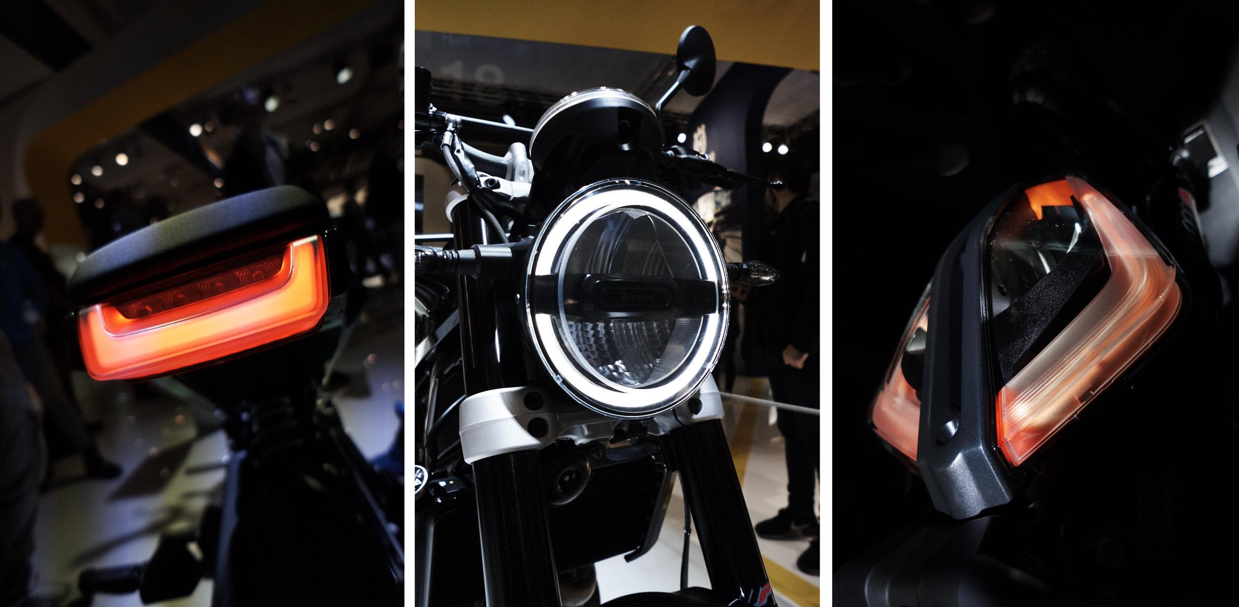 From Left to right,Husqvarna 401 rear light,Husqvarna 401 headlight,KTM Duke head light.
