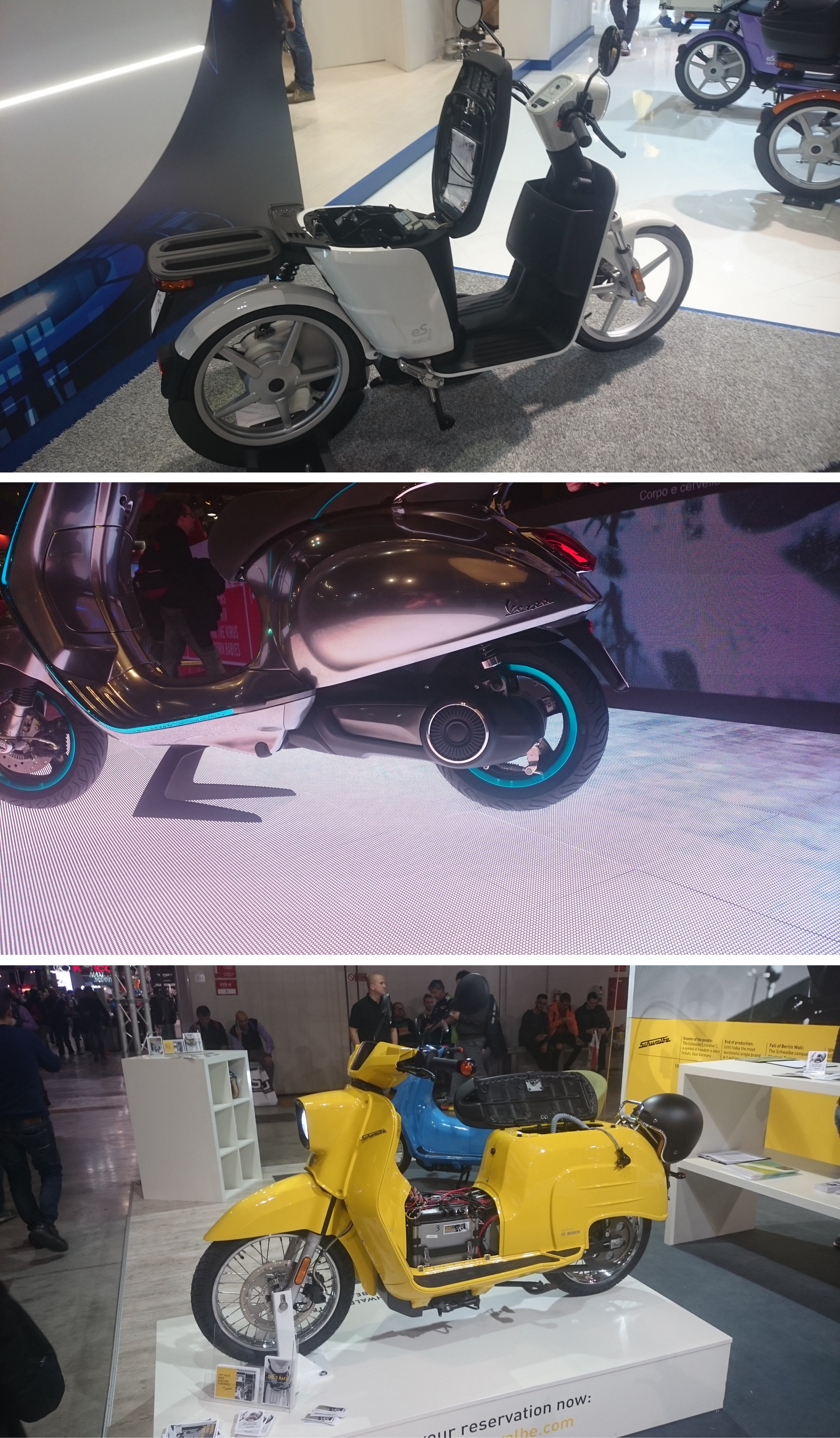From top to bottom, Askoll ES2, Vespa Elettrica, Schwalbe Scooter.