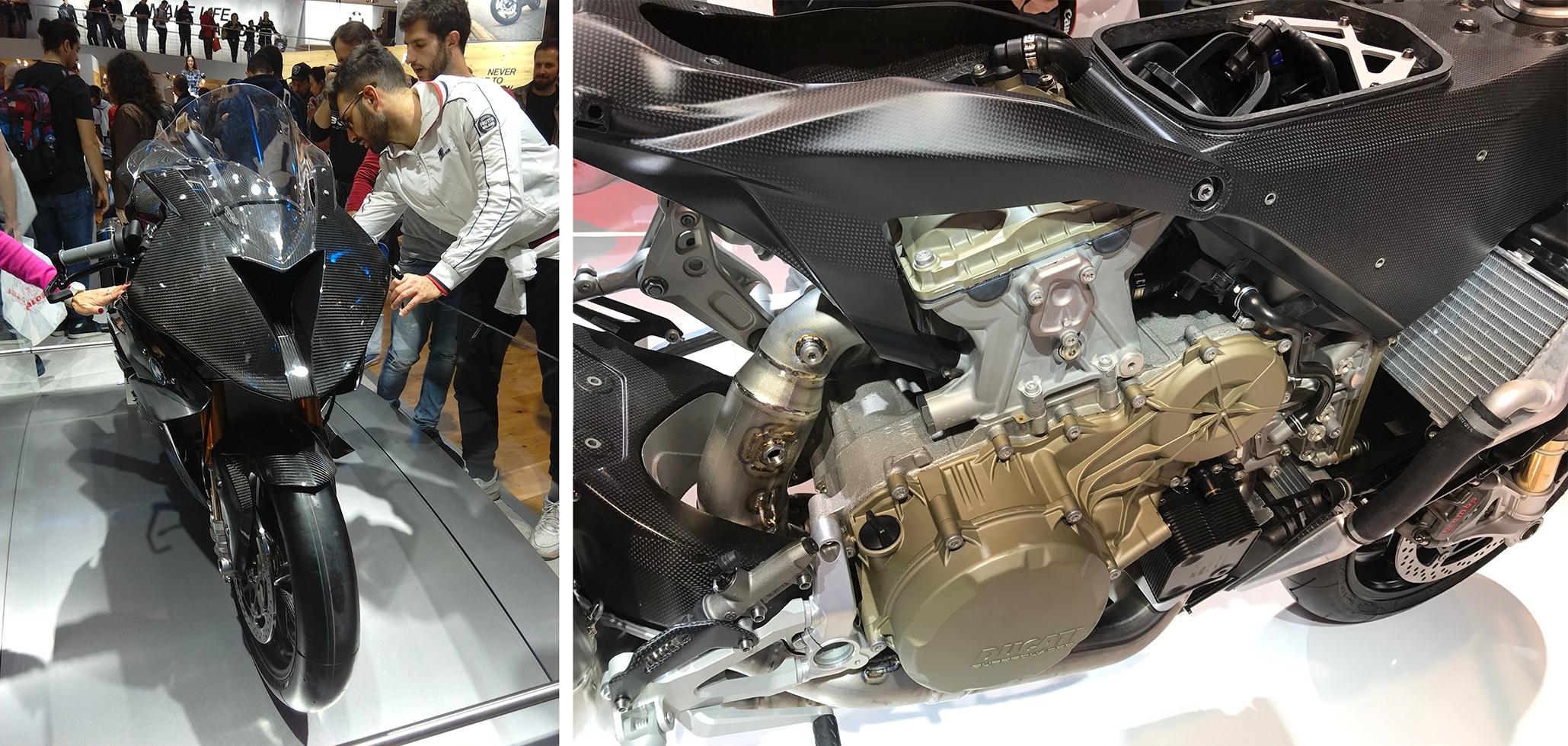 Left to right, BMW HP4 Race, Ducati 1299 Superleggera.