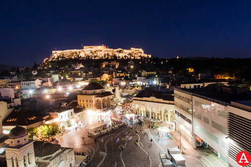 Beautiful view combo of Monastiraki, Plaka and the Parthenon from A for Athens rooftop bar. [pic by A for Athens]