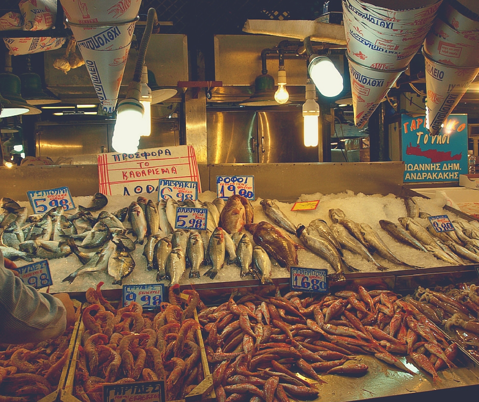 Central Athens' fish market (Varvakeios Agora) on Athinas Street is a must-see