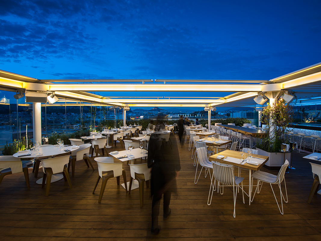 The rooftop bar-restaurant 'Hytra'on top floor of the Onassis Cultural Centre (Picture courtesy of Hytra)