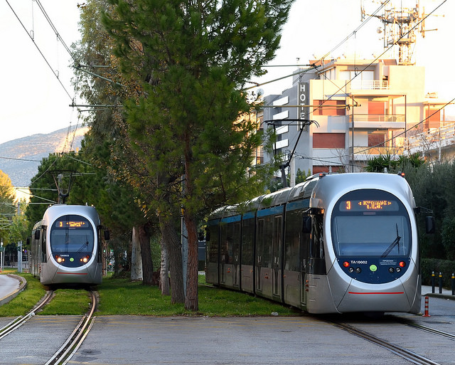 Trams going through Glyfada centre (Picture by Tim Adams/Flickr)