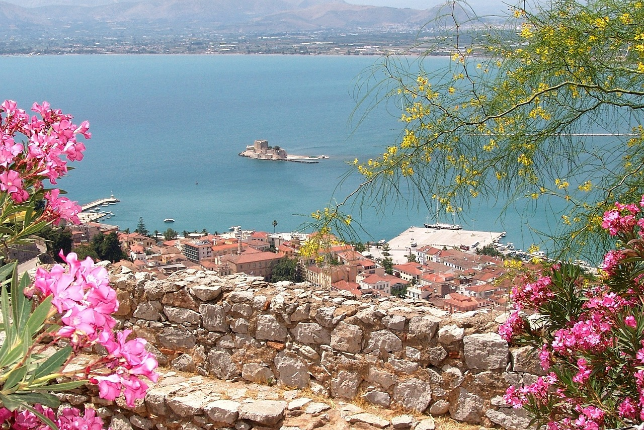 Views of the Argolic gulf and water castle of  Bourtzi  from Nafplio.