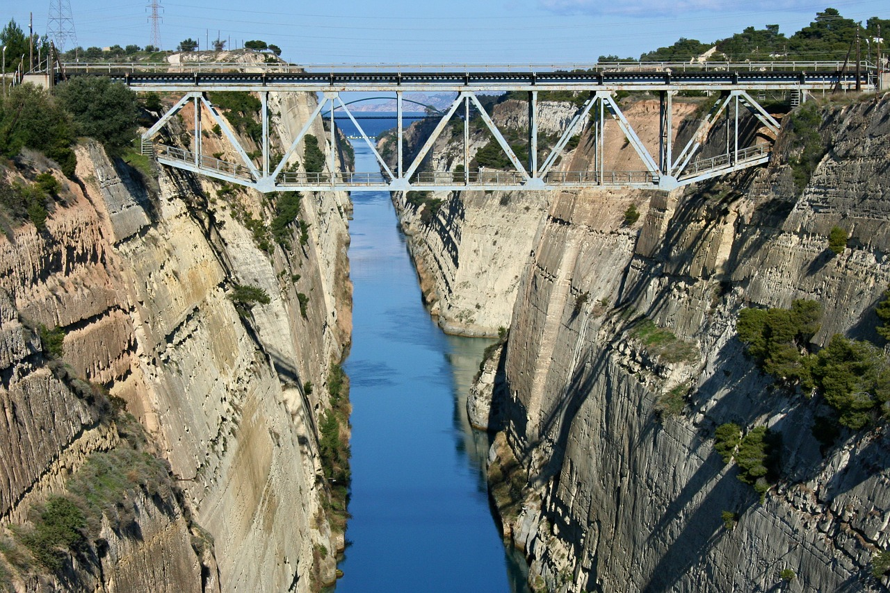 The Aegean meets the Ionian see at the Corinth Canal.