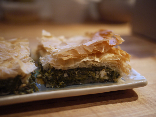 Greek 'spanakopita' spinach pie in filo pastry with feta cheese! (Picture by Rebecca Siegel / Flickr)