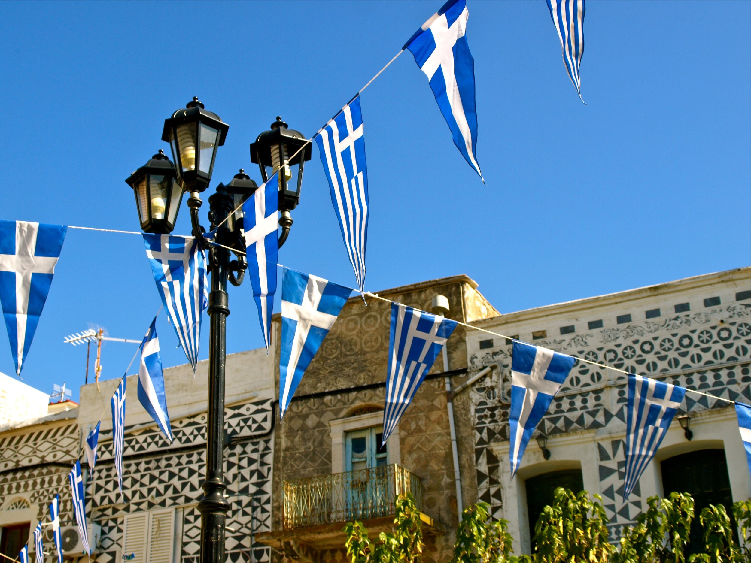 The village of Pyrgi in Chios decked out for 28 October (Photo by Katherine Poseidon)