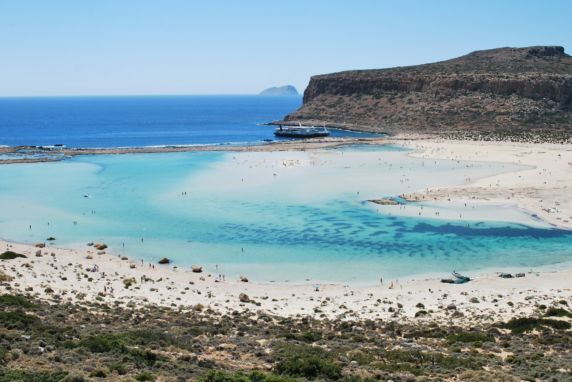 Swim in Crete's warm waters throughout fall (Picture in Balos Beach in Chania prefecture)