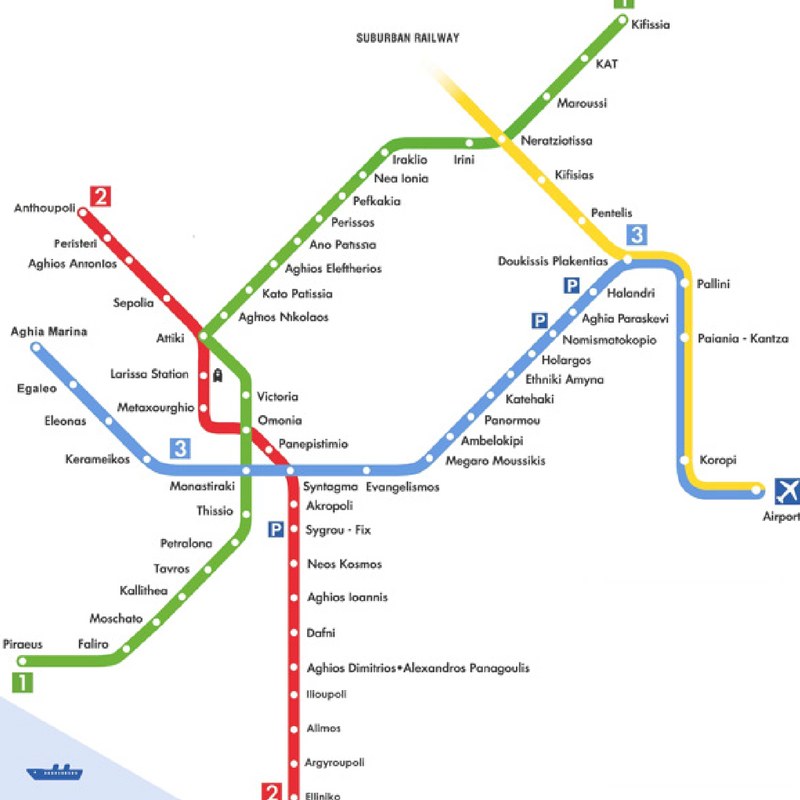 The map of the Athens metro, including the line to the Athens airport and train connection Piraeus port to Kifissia