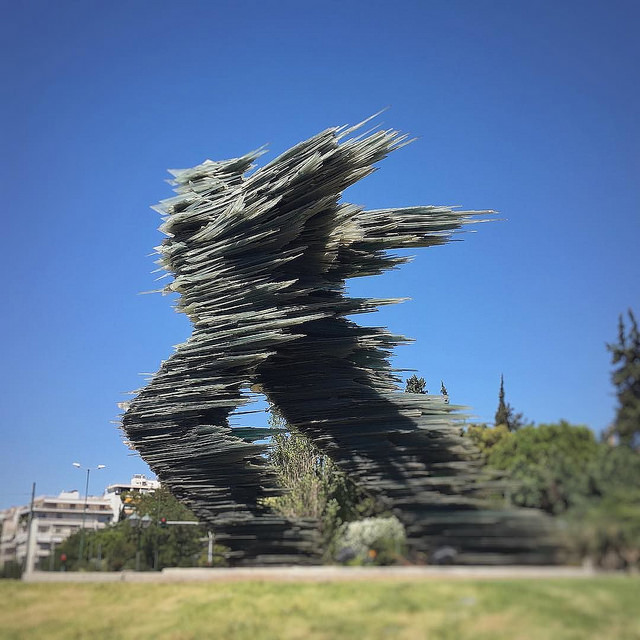 The emblematic glass sculpture 'Dromeas' The Runner in central Athens (Picture by  J c  / Flickr)