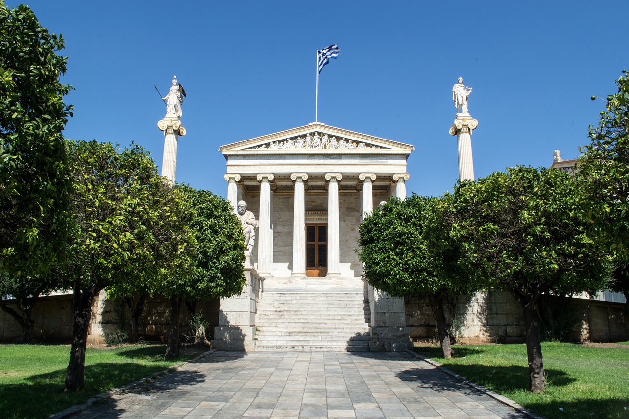 The magnificent neoclassical building of the Academy of Athens