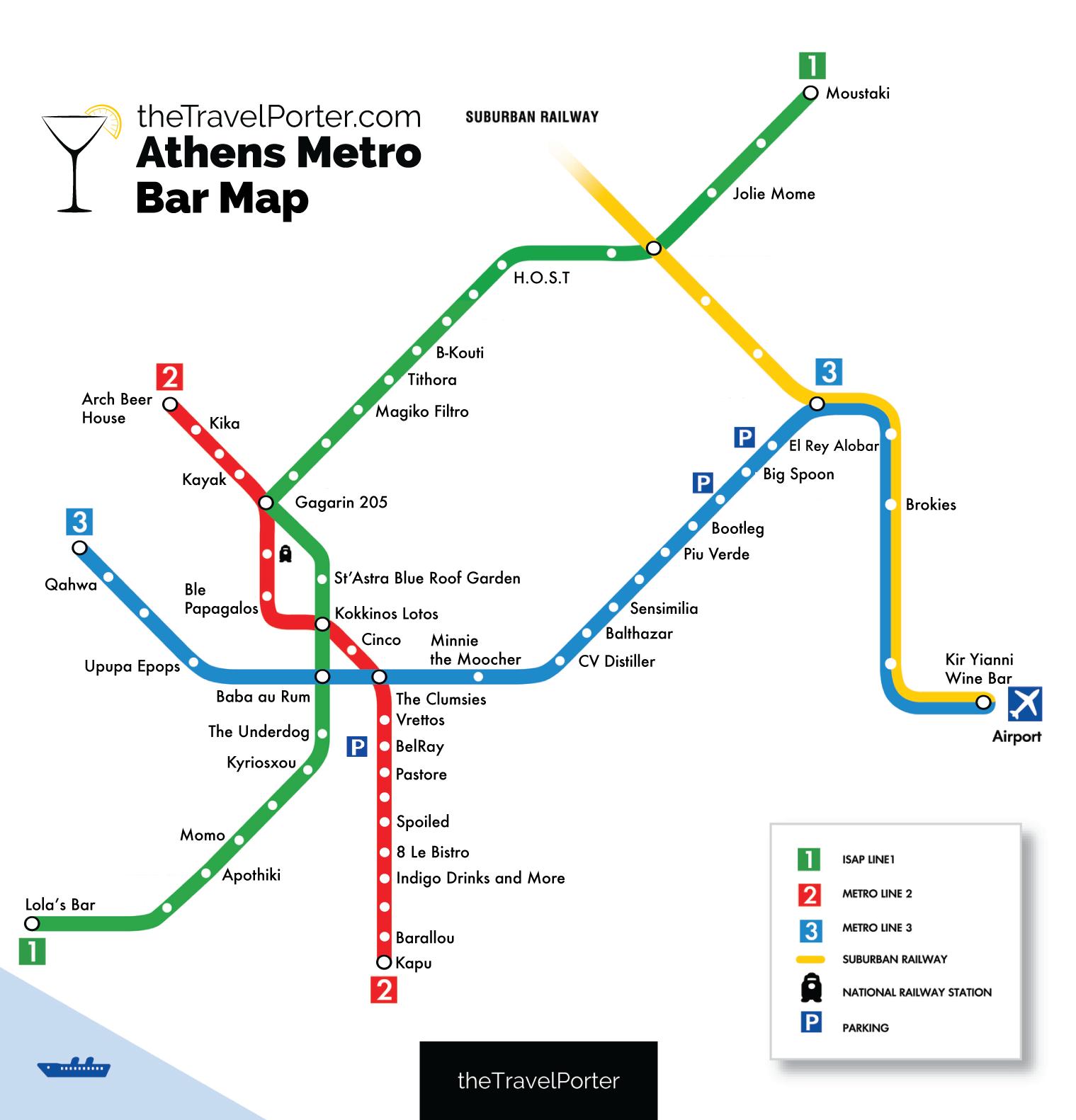 athens metro bar map