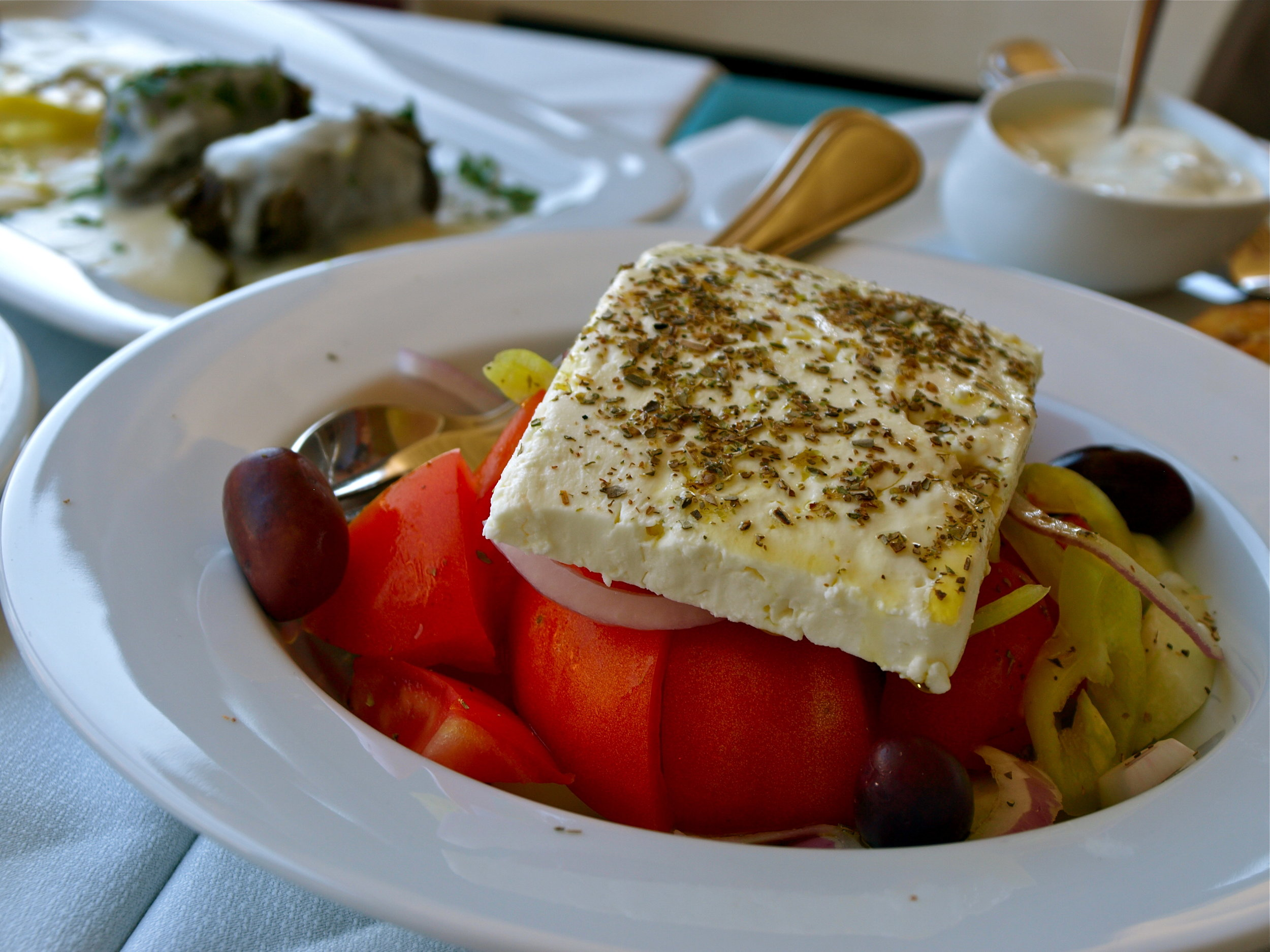 You haven't been to Greece if you haven't tasted the real true Greek salad topped with feta cheese! (Picture by Katherine Poseidon)