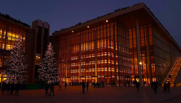 The impressive Stavros Niarchos Cultural Centre dwarfs even the Christmas Trees! (Picture by __amargetas__/Instagram)