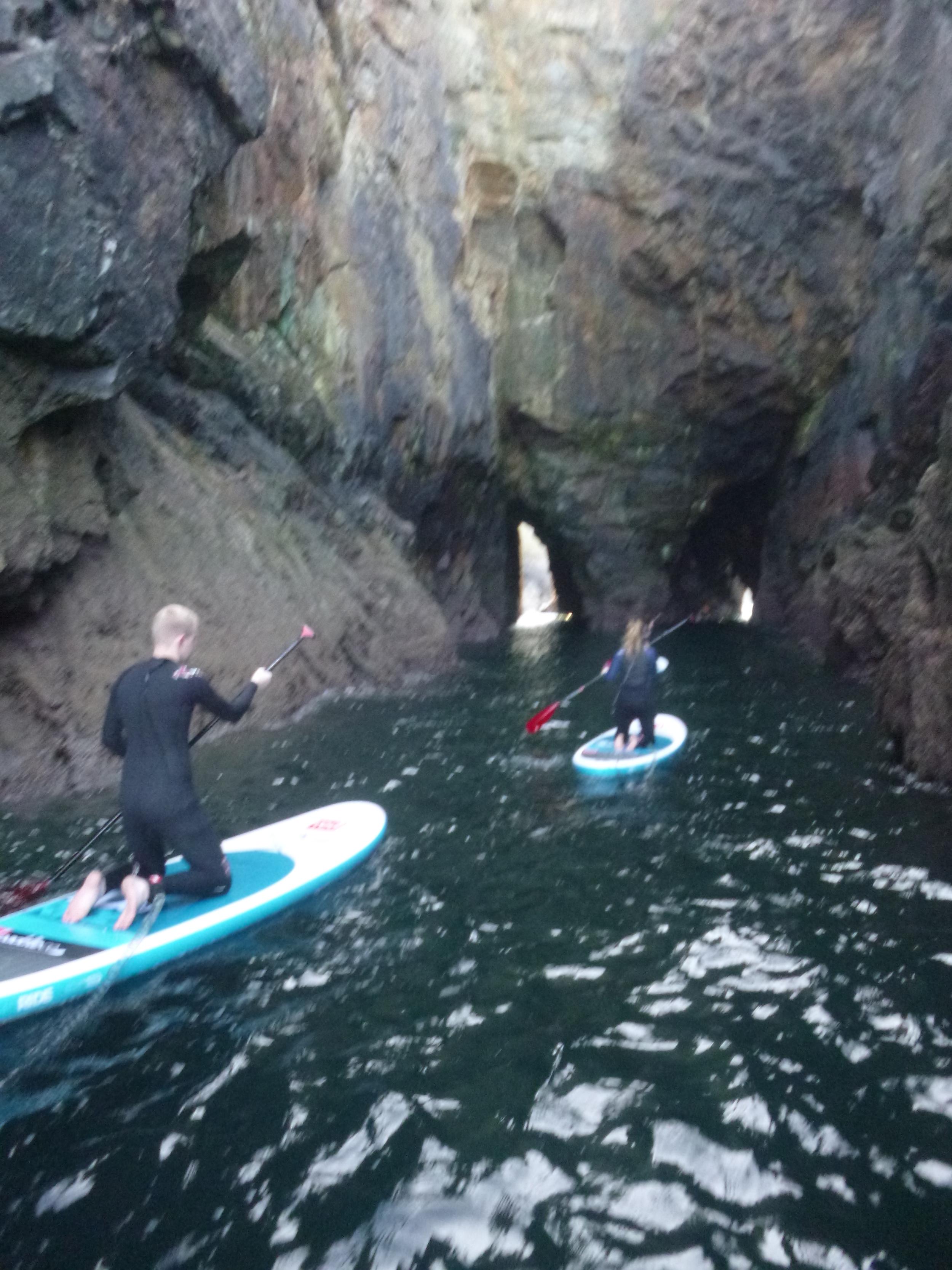SUP through Caves, St Agnes,Cornwall