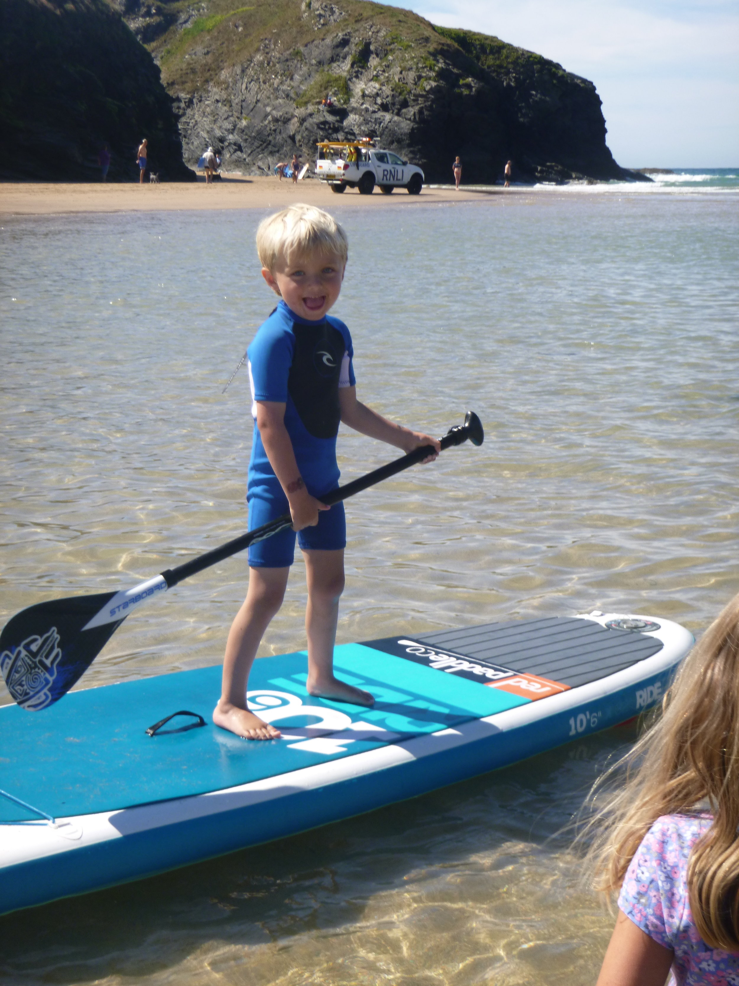 Porthcothnan trying out the new Starboard Children's Paddle