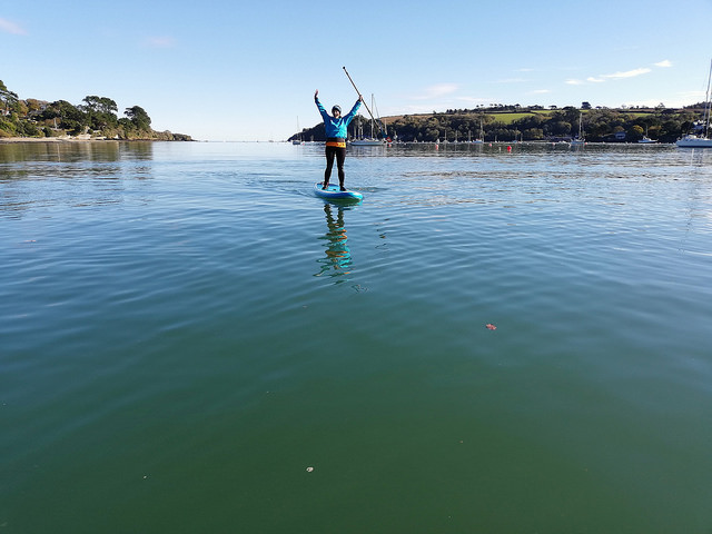 Enjoying stunning conditions during this autumnal paddle on the Helford River. Stopping for a drink at the Ferry Boat Inn.