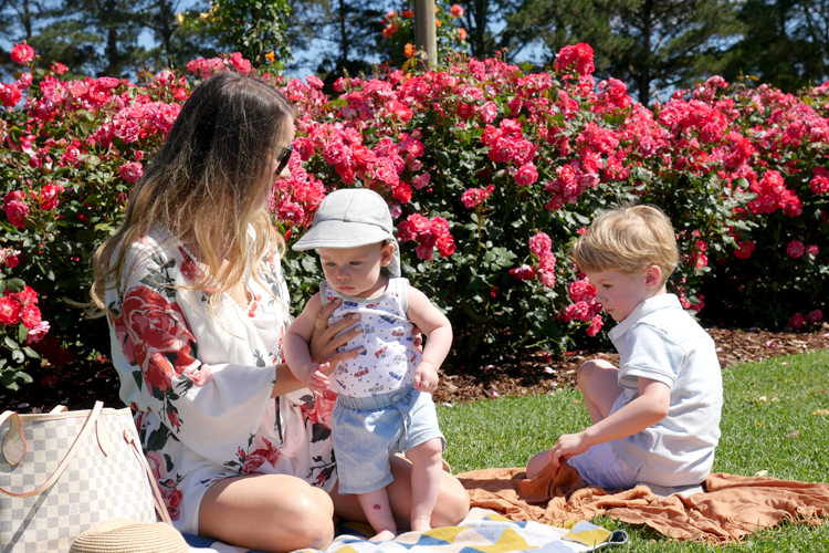 Tobi dress with kids and roses