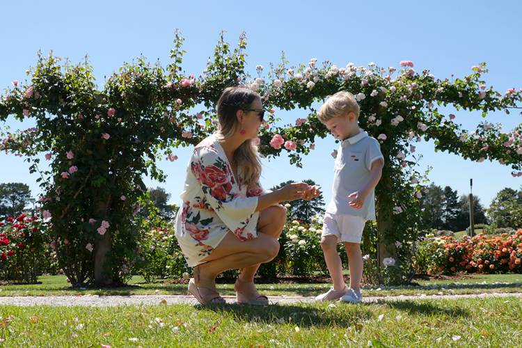 Tobi playsuit with pink roses and toddler