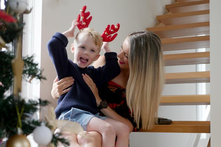 reindeer toddler and mum