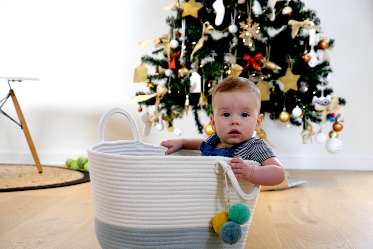 baby in a basket christmas tree