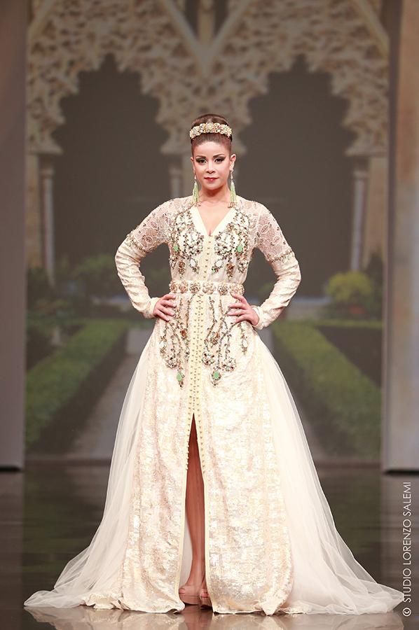 Caftan Haute Couture Fouzia Naciri - Inspiration Perlé Beige Face