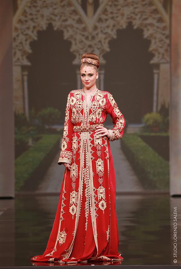 Caftan Haute Couture Fouzia Naciri - Inspiration Broderie Dorée Face