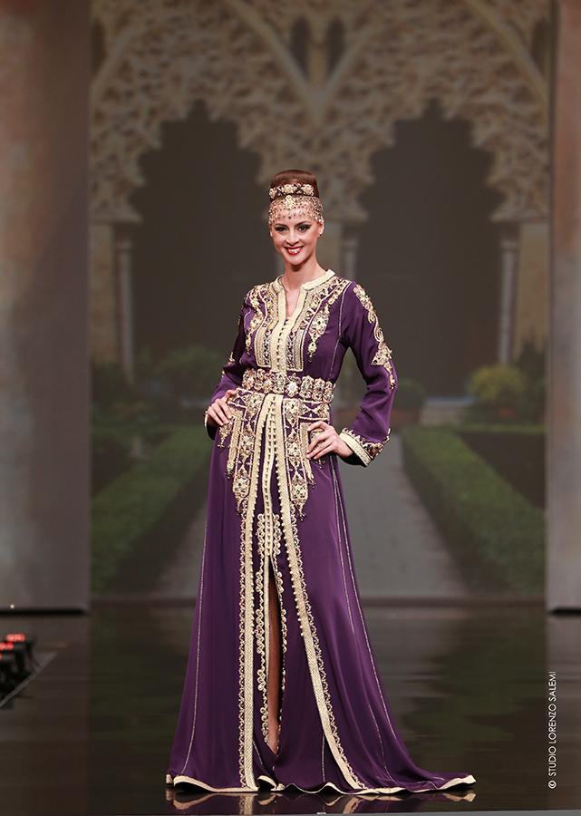 Caftan Haute Couture Fouzia Naciri - Inspiration Pourpre Dorée Face