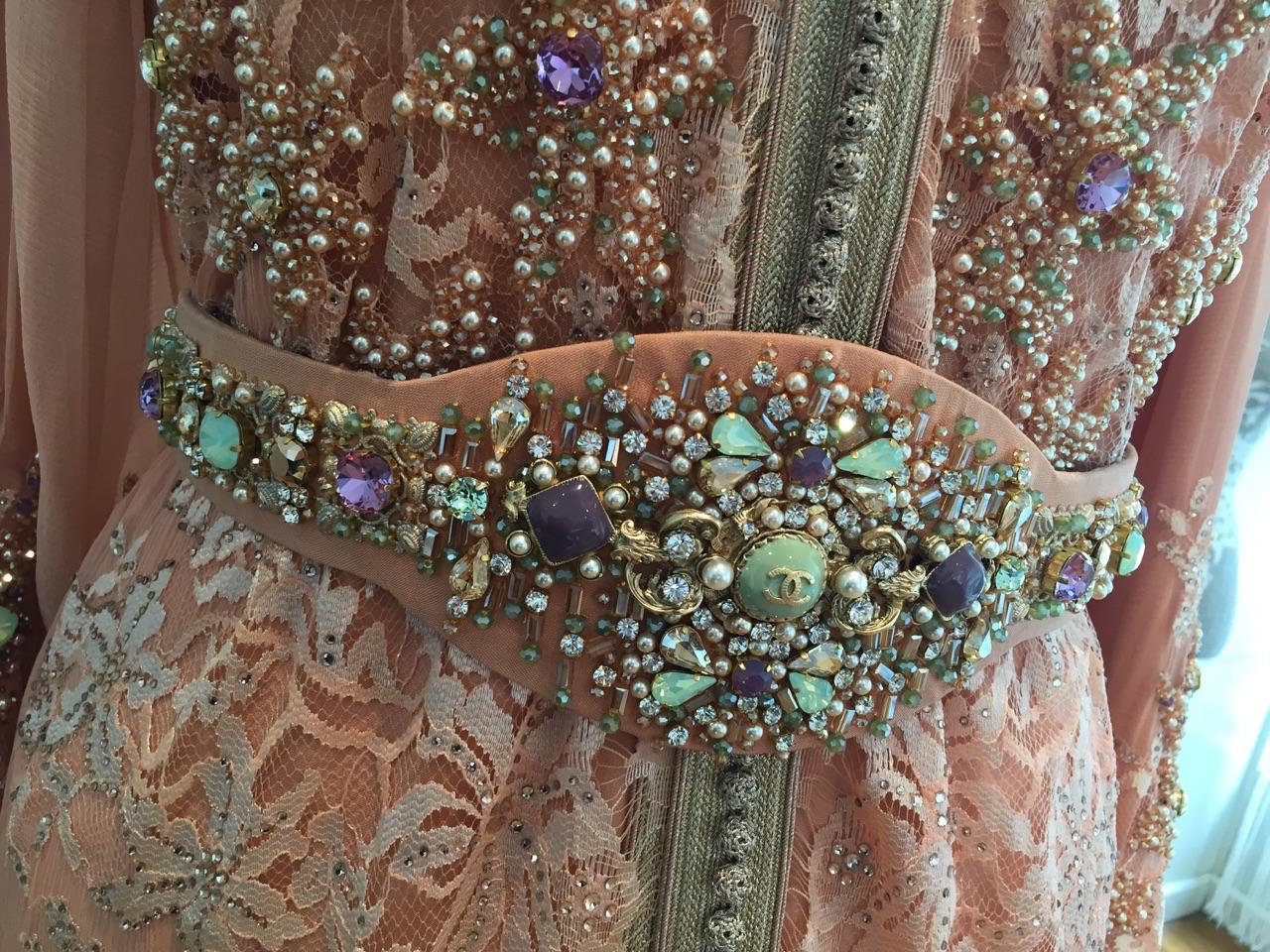 Caftan Haute Couture Fouzia Naciri - Savoir Faire Taditionnel Fait Main Détails