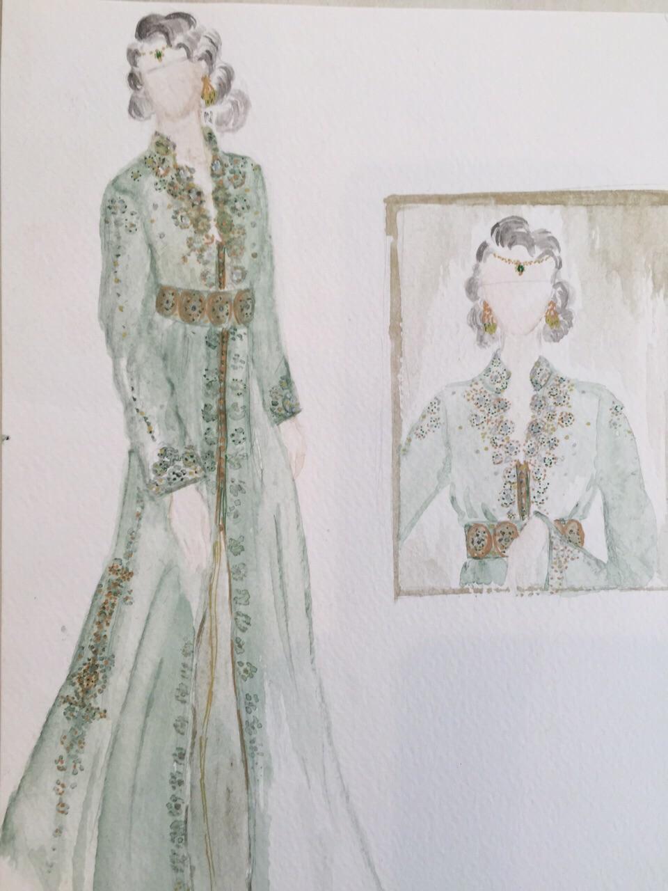 Croquis création Caftan Haute Couture Fouzia Naciri - Inspiration Vert d'eau