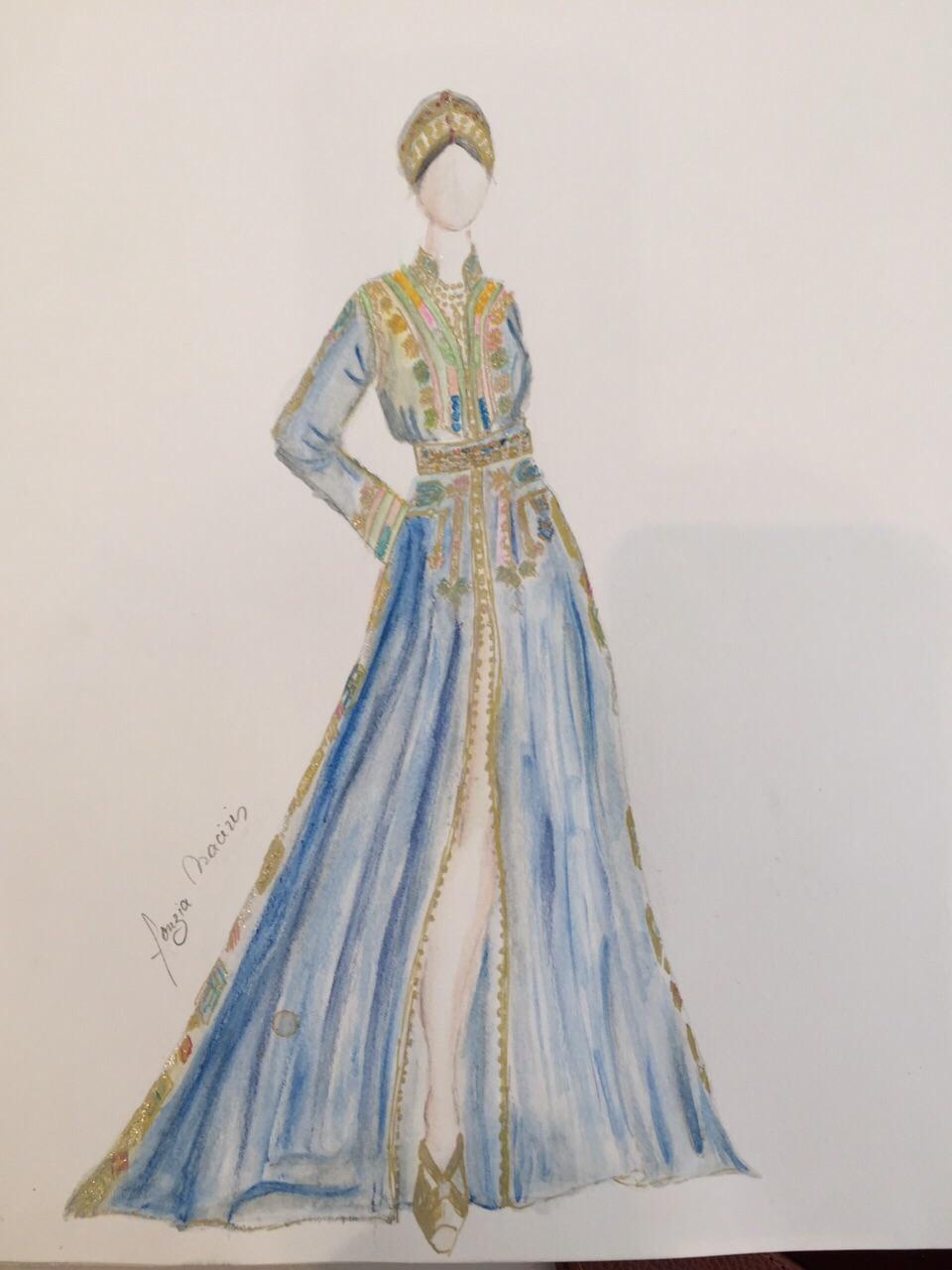 Croquis création Caftan Haute Couture Fouzia Naciri - Inspiration Bleu Doré