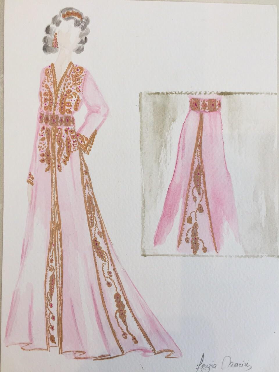 Croquis création Caftan Haute Couture Fouzia Naciri - Inspiration Rose Doré