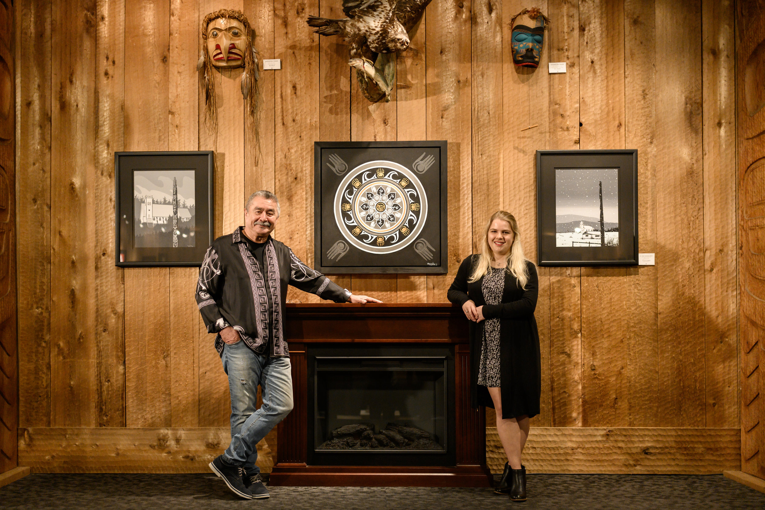 Roy-Henry-Vickers-Lizzie-Snow-fortyonehundred-Earth-Spirit-Collaborative-Original-Painting-Photo-by-Paul-Levy-Photo-Tofino-BC-Canada