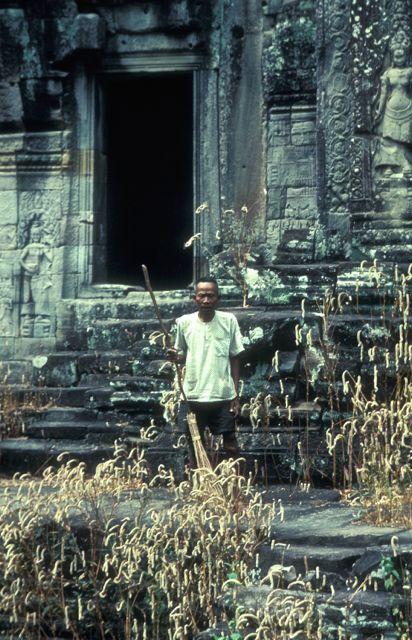 Bayon Custodian, Angkor, Cambodia