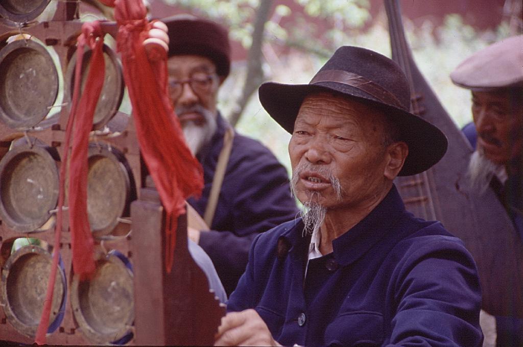 Naxi musician, Lijiang, Yunnan, China