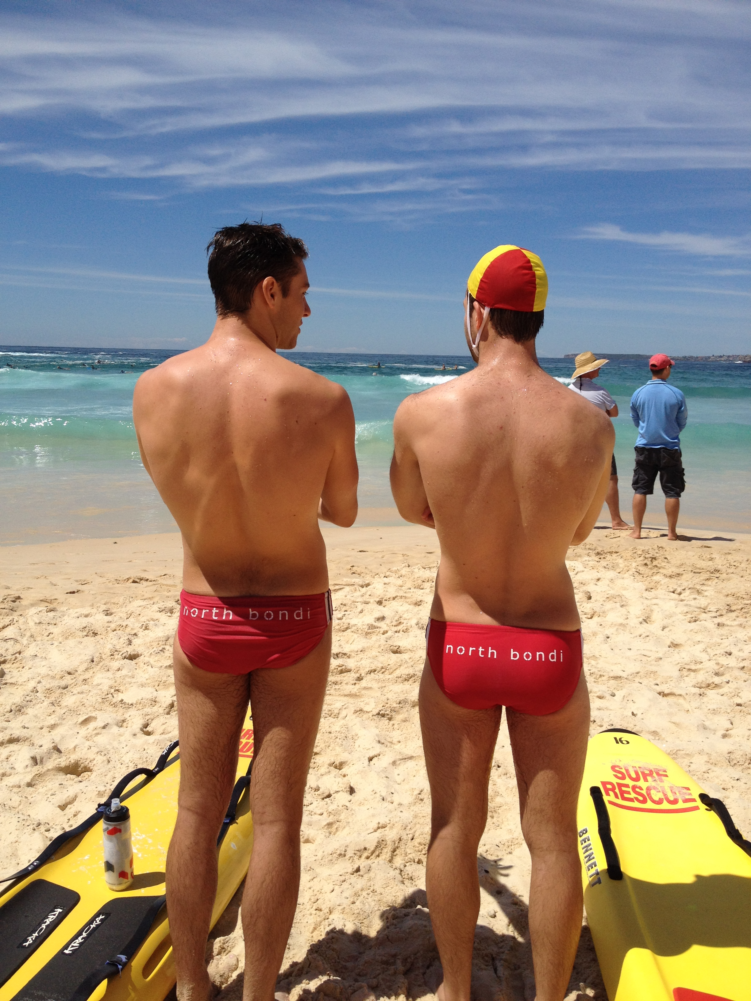 Yes - in Australia we often wear 'speedos', 'budgie smuggers' or 'togs' when patrolling Bondi Beach! Our two fearless models today are volunteer lifesavers from @northbondislsc Patrol 13 -@matteogrand and @jessekras.#bondibeach #northbondi Pic: Drew Lambert