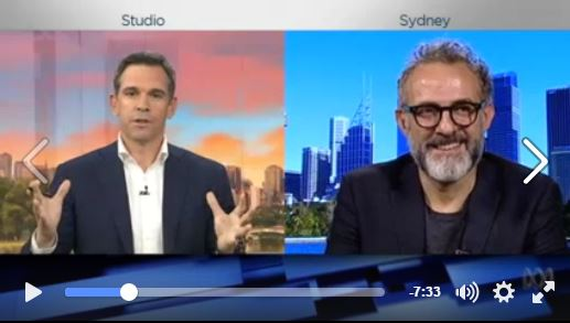 'To feed the planet, you have to find the waste' Italian Chef Massimo Bottura on gathering together the world's best chefs and using leftovers and food waste to create banquets for the homeless. He talks to ABC NEWS BREAKFAST about his new movie to be released on TUGG later this year, Theatre of Life.
