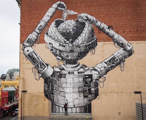 """A HUGE robot has invaded an Australian suburban shopping strip and is coming to life with augmented reality technology.  The 20m street art mural was painted over seven wet and windy days by """"introverted*"""" UK artist Phlegm and brought to life by a team of local AR developers in Melbourne.  Chapel Street Precinct Association President John Lotton said he found Phlegm's intricate works on social media and wanted the community to experience it."""