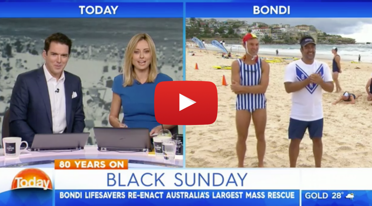 80 years ago today, North Bondi and Bondi surf clubs joined together for Australia's largest mass rescue in the country's history. North Bondi lifesaver Brendan Krone, introduces us to his Grandmother, Norma, the last known survivor of that faithful day.