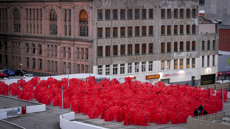 """""""Bloody freezing."""" That's how cold it was on Monday morning, said Woodend resident Shane Bartley, when he and hundreds more stripped naked for art.  In the final instalment of Spencer Tunick's latest trip Down Under, 500 gathered first on the rooftop of the Prahran Woolies, then in the windows of a second-storey shopfront on Chapel Street."""