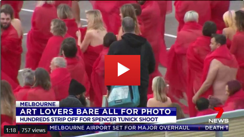 Hundreds of people stripped off in Prahran this morning - all in the name of art. It was part of a photoshoot for famed photographer Spencer Tunick.  # 7News