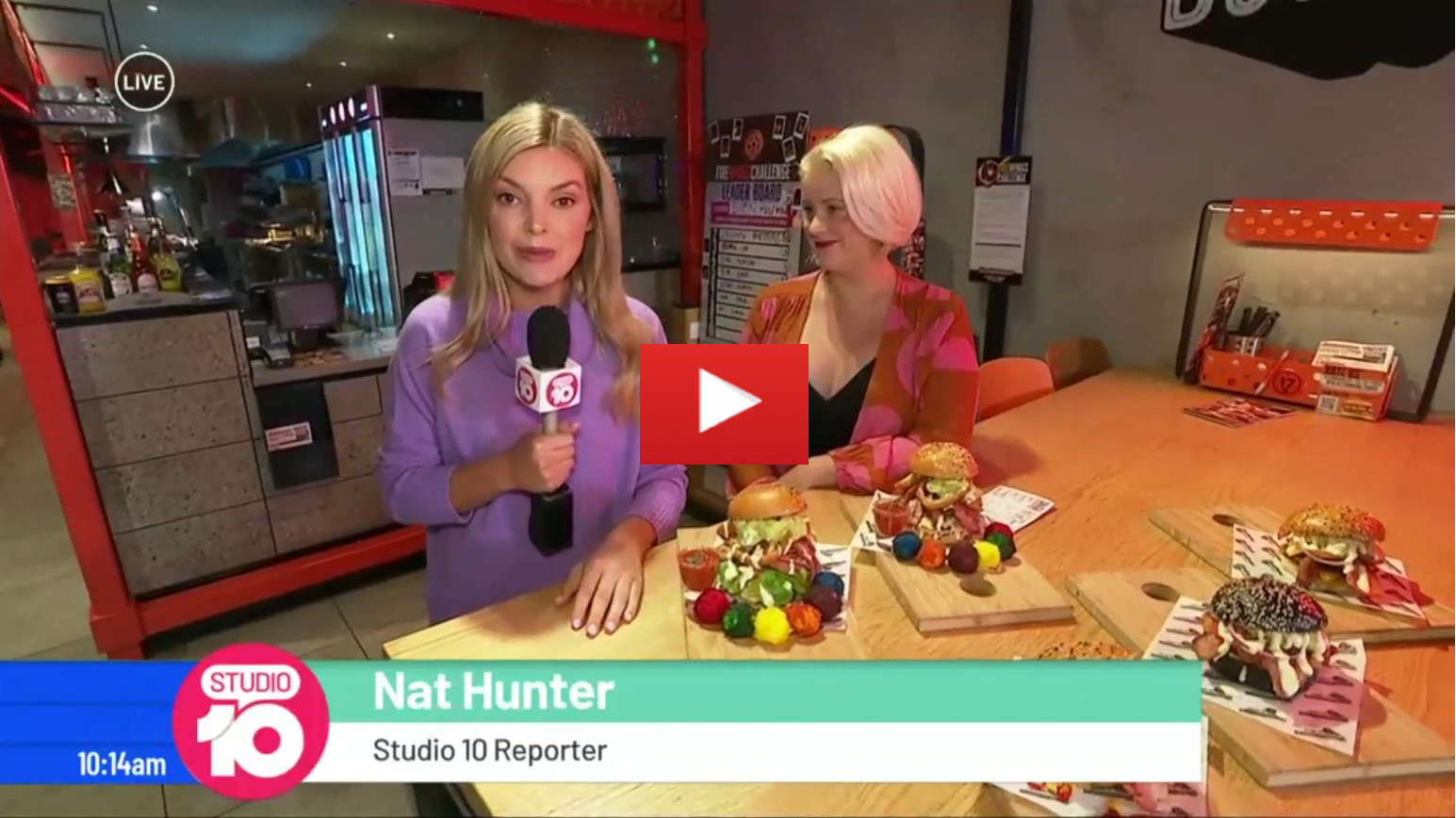 Chrissie Maus, CSPA General Manager, speaks to Nat Hunter and the Studio 10 team about the Chapel Champions Awards which have brought with them some pretty crazy burgers.  Cal Stubbs AKA HulkSmashFood is gearing up for an Australian burger attempt, aiming to eat a 4.2kg burger with 23 patties.