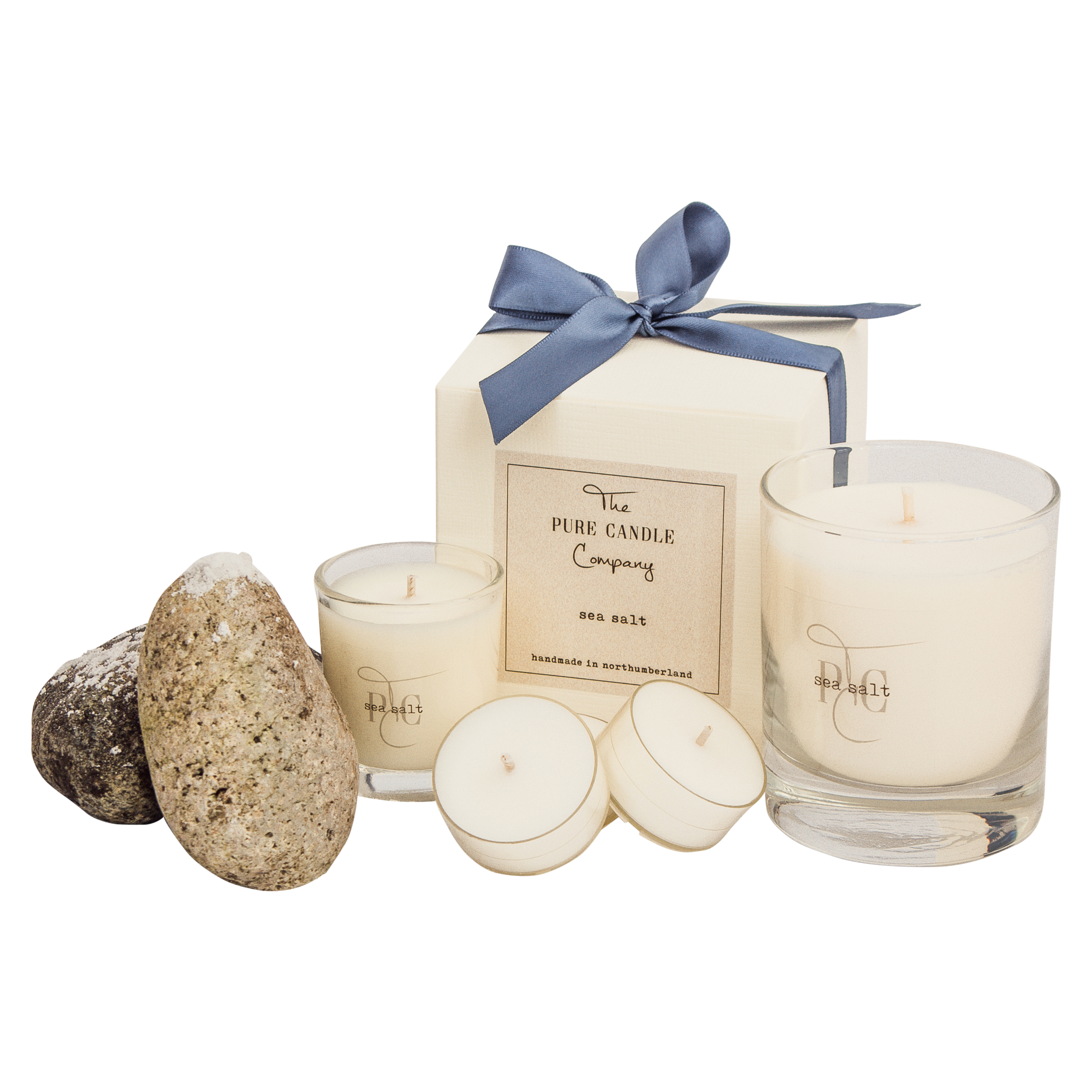 The Pure Candle Company Sea Salt soy wax candle. Our 100% soy wax candles are eco-friendly, clean burn candles, handmade in the UK, hand-poured into glass jars.