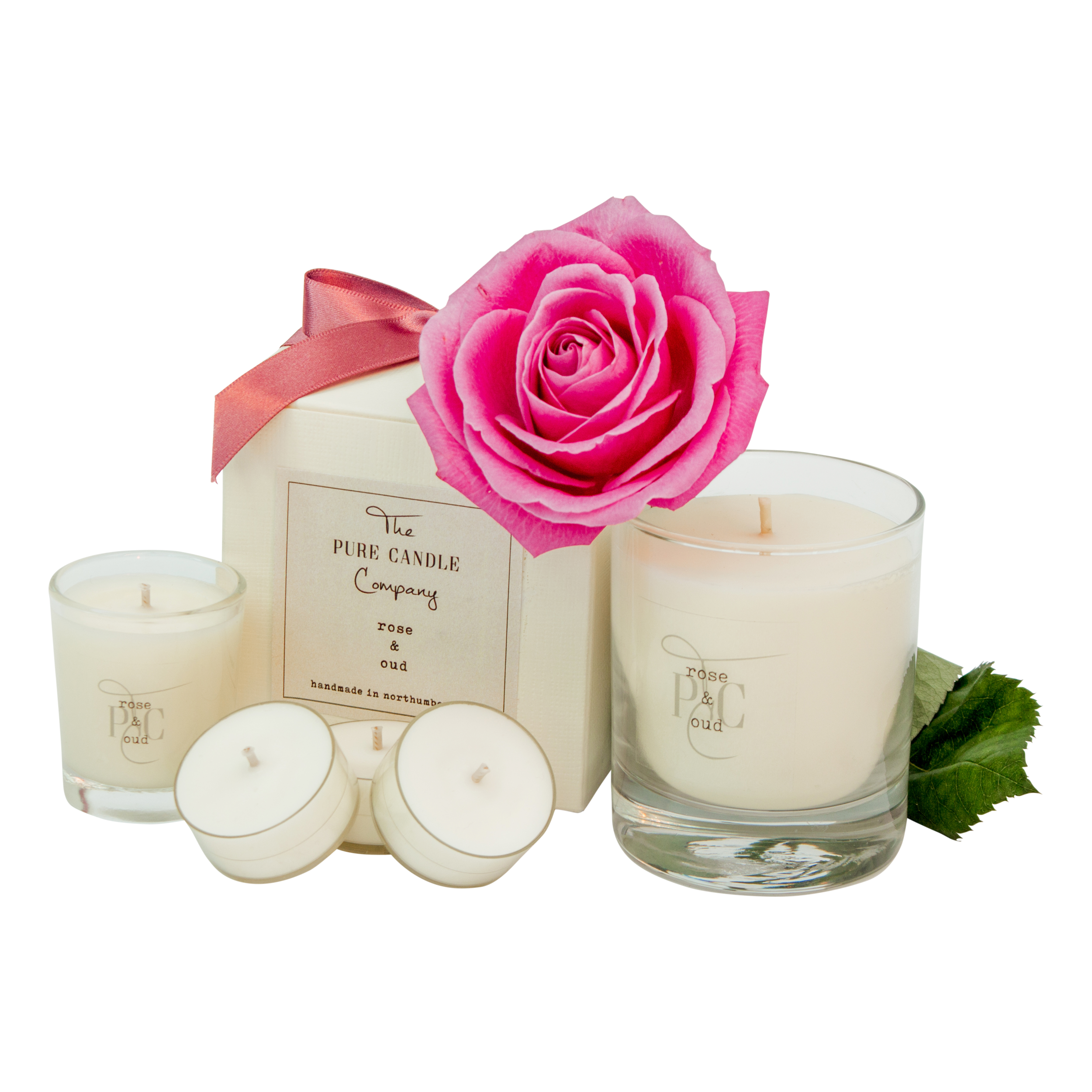 The Pure Candle Company Rose & Oud soy wax candle. Our 100% soy wax candles are eco-friendly, clean burn candles, handmade in the UK, hand-poured into glass jars.