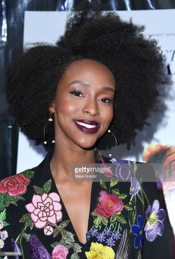 """HOLLYWOOD, CA - DECEMBER 04:  Emily Obsidian arrives at the Los Angeles Special Screening Of """"If Beale Street Could Talk"""" at ArcLight Hollywood on December 4, 2018 in Hollywood, California.  (Photo by Steve Granitz/WireImage)"""
