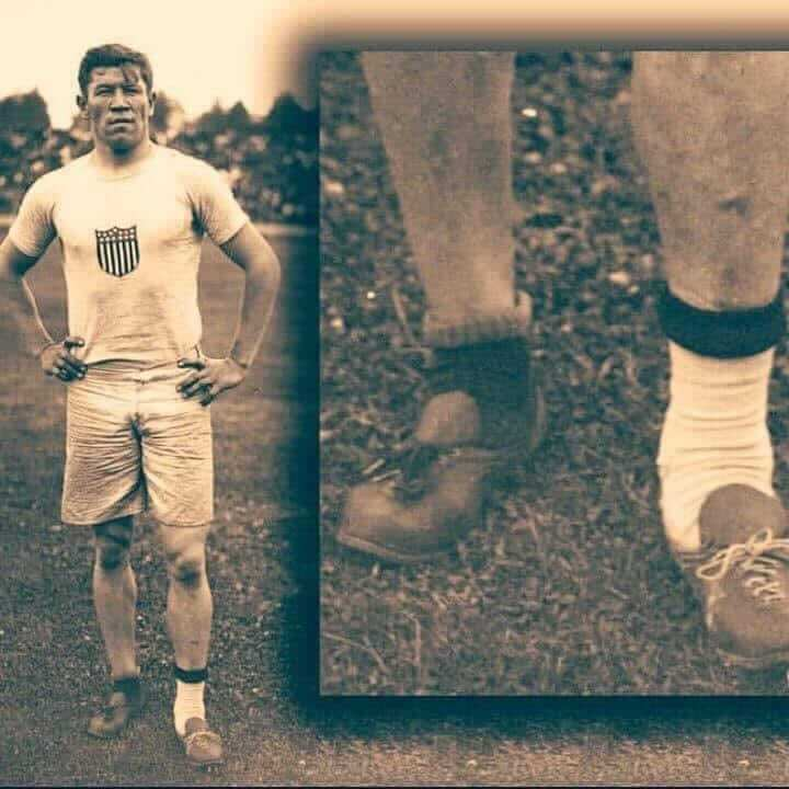 look close. Why's this man wearing different socks & shoes? Jim Thorpe was an American Indian from Oklahoma representing the U.S. in track & field at the 1912 olympics. the morning of competitions, his shoes were stolen. Luckily, Jim found two shoes in a garbage can. That's the pair he is wearing in the photo. But one of the shoes was too big, so he wore an extra sock. Wearing these shoes, Jim won two gold medals. don't hold yourself back, even if life has not been fair. What are you doing about it today? Whatever you woke up with today, don't let it stop you. run your race.