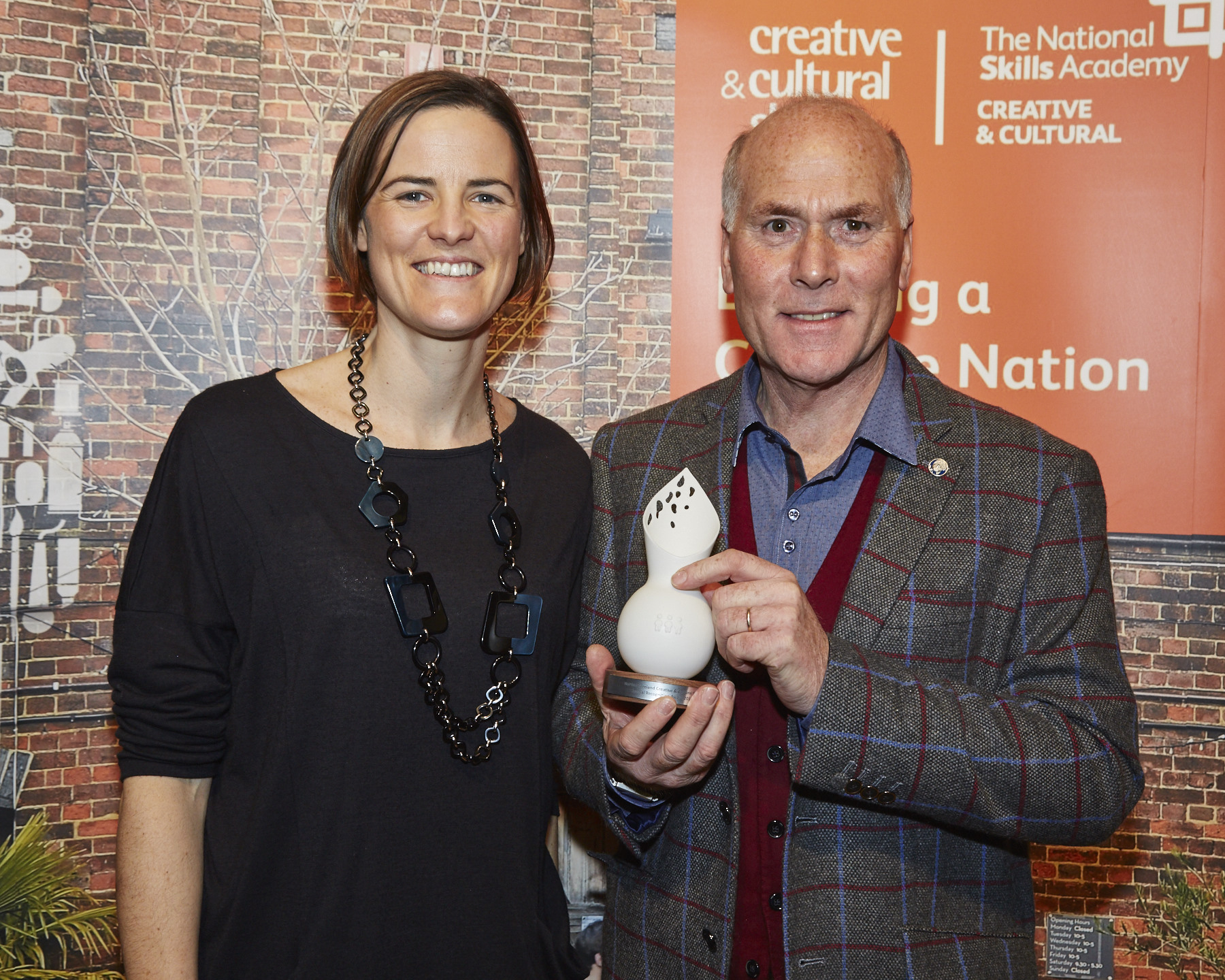 Sarah Graham of Creative and Cultural Skills and Basil Dalton who received the Special Recognition Award 2015. Simon Mills Photography
